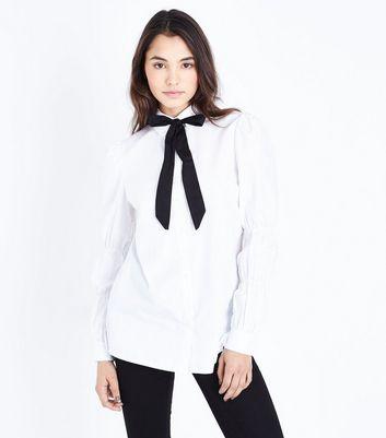 Parisian White Tie Collar Front Shirt New Look