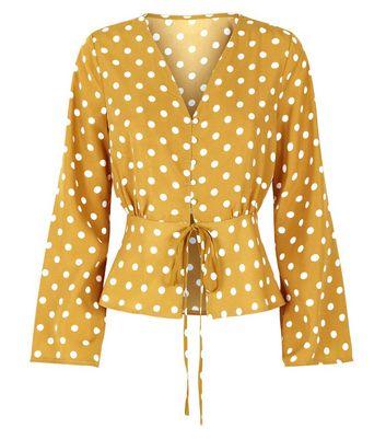 Parisian Yellow Polka Dot Blouse New Look