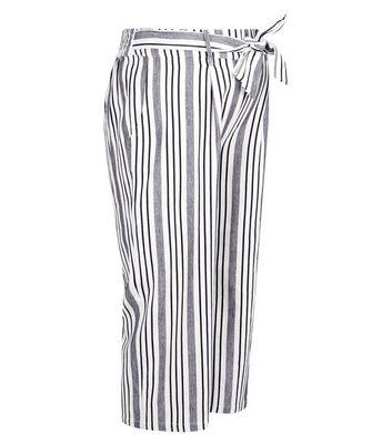 Maternity White Stripe Tie Waist Crop Trousers New Look