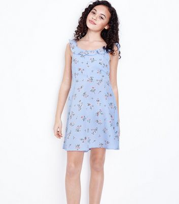 Teens Blue Floral Frill Trim Dress