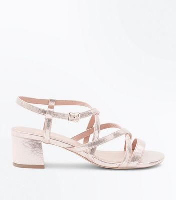 Wide Fit Gold Strappy Low Block Heel