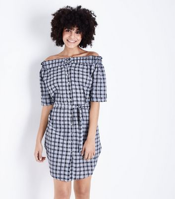 Blue Vanilla Navy Check Bardot Shirt Dress