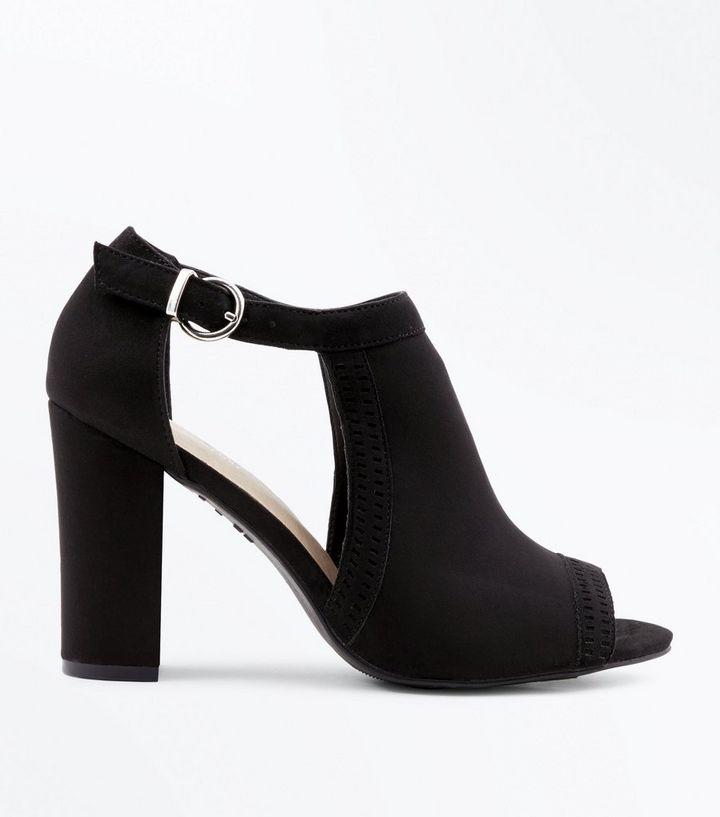98c4c707c7 Black Comfort Flex Cut Out Peep Toe Heels | New Look