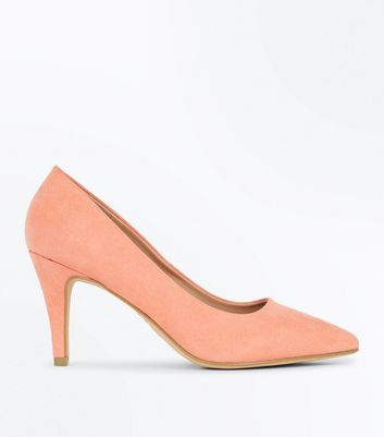 Wide Fit Coral Suedette Pointed Court Shoes