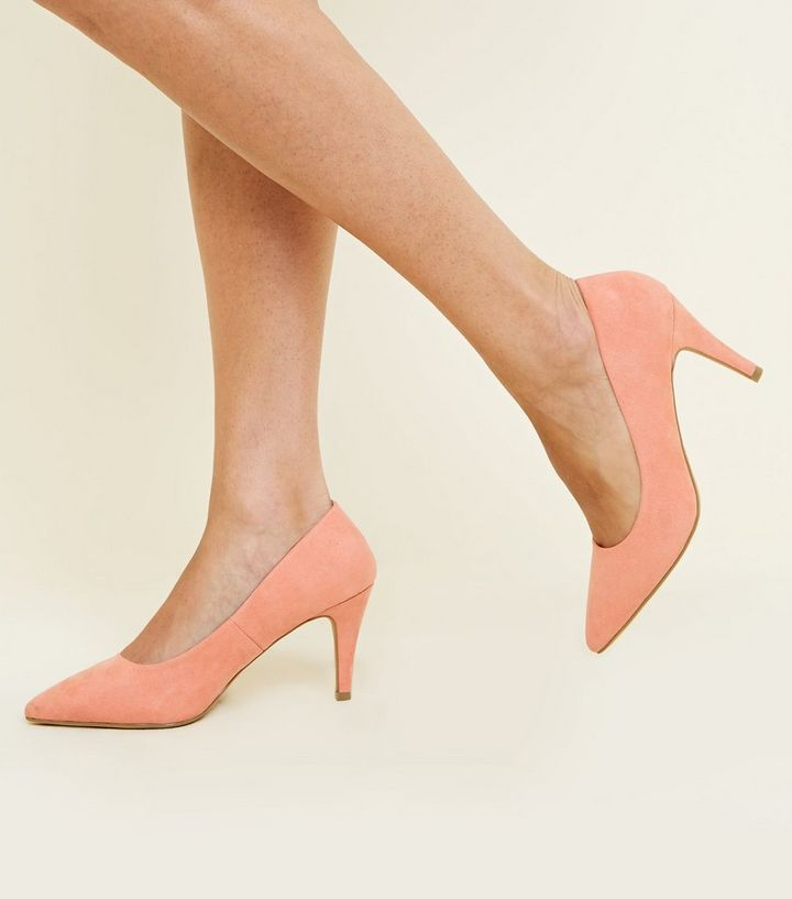running shoes vast selection online here Wide Fit Coral Suedette Pointed Court Shoes Add to Saved Items Remove from  Saved Items