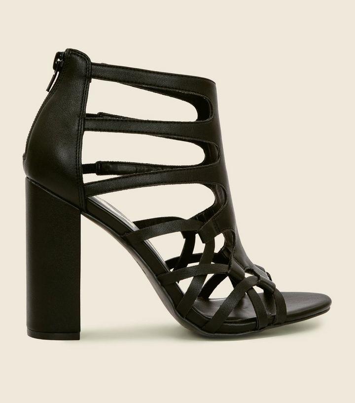 c21e11a5f1 Black Woven Block Heel Gladiator Sandals | New Look