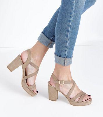 Brown Suedette Strappy Block Heel Sandals New Look