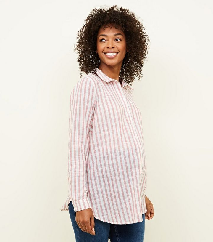 1ef376aee7348 Maternity Pink Stripe Crinkle Cotton Shirt Add to Saved Items Remove from  Saved Items