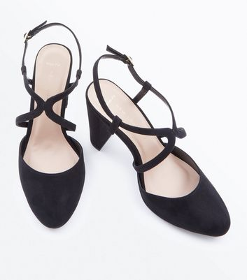 Wide Fit Black Suedette Round Toe Block Heels New Look