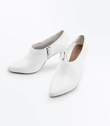 Wide Fit White Cone Heel Shoe Boots New Look