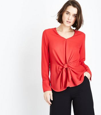 Red Long Sleeve Tie Front Top