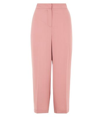 Pink Side Stripe Cropped Wide Leg Trousers New Look