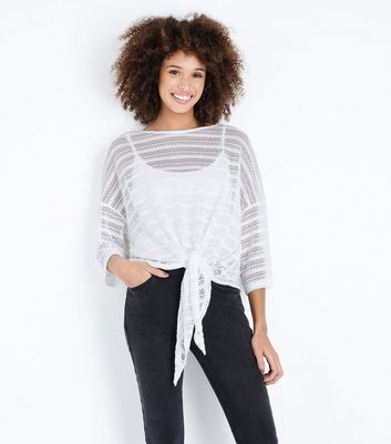 Cream Pointelle Stripe Tie Front T-Shirt