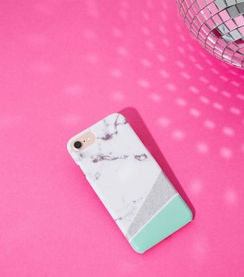 Green Marble Asymmetric Phone Case New Look