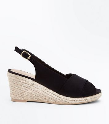 Wide Fit Black Espadrille Peep Toe Wedges