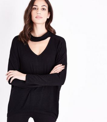 Apricot Black Cowl Choker Neck Top New Look