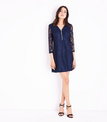 Apricot Navy Zip Front Lace Dress New Look