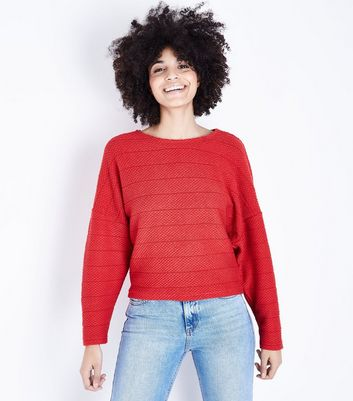 Red Stripe Fine Knit Batwing Sleeve Top New Look