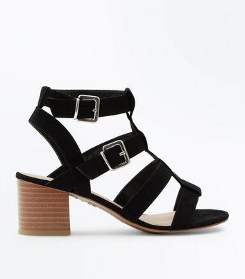 Black Suedette Gladiator Heeled Sandals