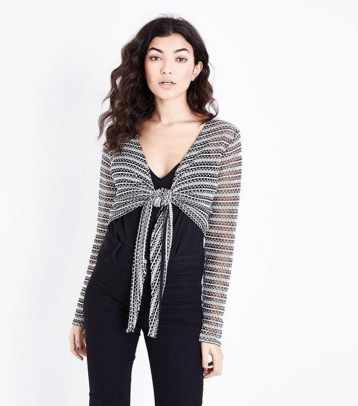 d0847f9e2a970 Black Pointelle Stripe Tie Front Crop Top