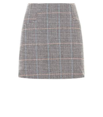 Cameo Rose Grey Prince of Wales Check Mini Skirt New Look
