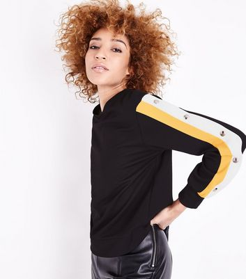 Cameo Rose Yellow Popper Side Stripe Sweatshirt New Look