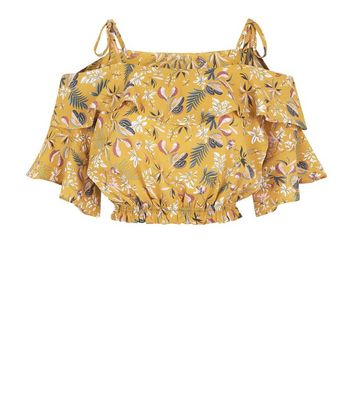 Pink Vanilla Yellow Floral Frill Crop Top New Look