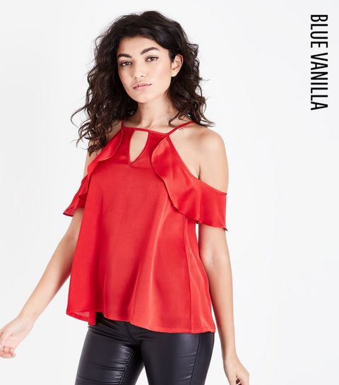 ae6db33a90bc69 ... Blue Vanilla Red Frill Cold Shoulder Top ...