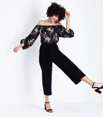 Blue Vanilla Black Floral Print Bodysuit New Look