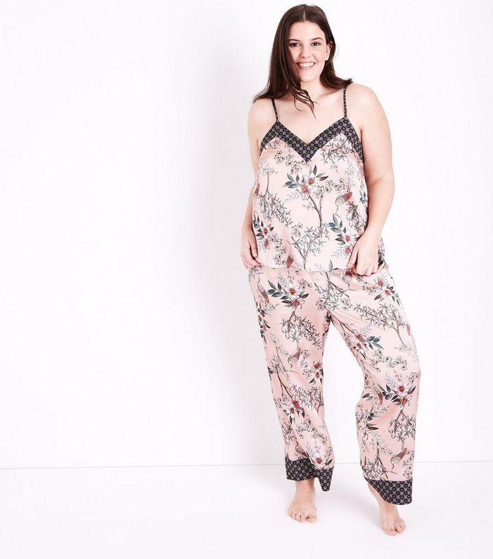 c5a88f4f40 Selina Curves Pink Floral Satin Pyjama Trousers