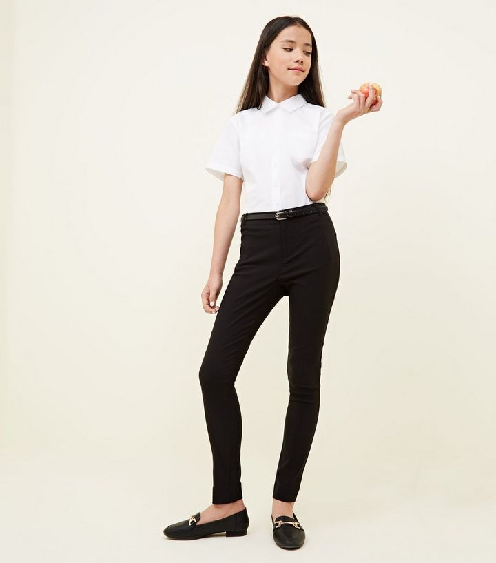 cheapest genuine shoes choose latest Girls Black Belted Slim Leg Trousers Add to Saved Items Remove from Saved  Items