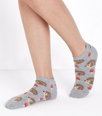 Grey Hedgehog and Toadstool Pattern Ankle Socks New Look