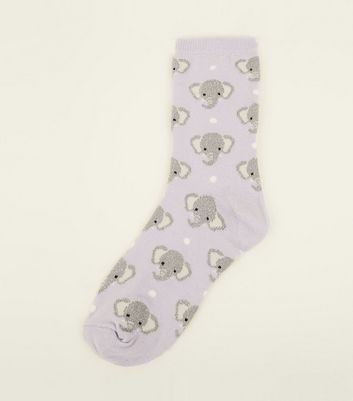 1 Pack Lilac Glittery Elephant Print Socks New Look