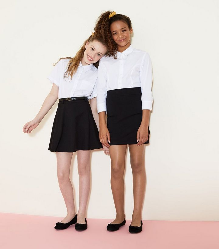 60ff7313f4 Girls Black Belted Skater Skirt | New Look