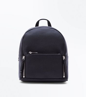 Black Zip Top Curved Mini Backpack