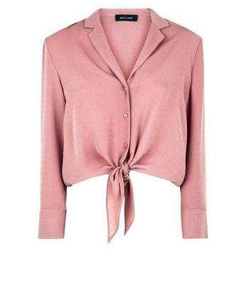 Mid Pink Tie Front Pyjama-Style Shirt New Look