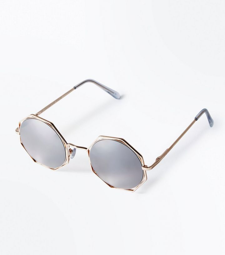 cff6e1362c5 Rose Gold Octagon Mirror Lens Sunglasses
