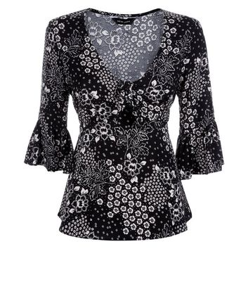 Black Floral Bell Sleeve Tie Front Top New Look