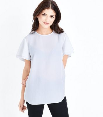 Off White Tiered Sleeve Step Hem Top New Look
