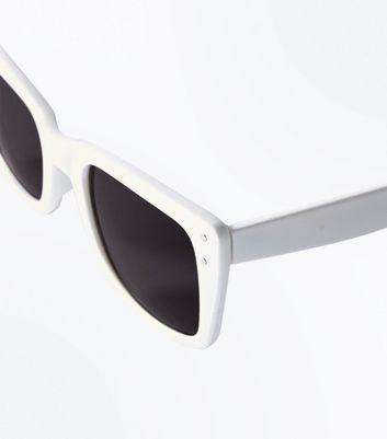 White Frame Small Cat Eye Sunglasses New Look