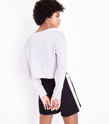 Cameo Rose Black Side Stripe Popper Shorts New Look
