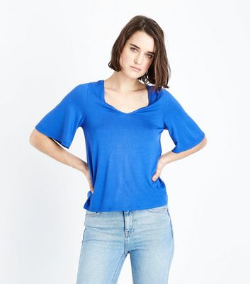 Bright Blue Reverse Crossover Strap T-Shirt