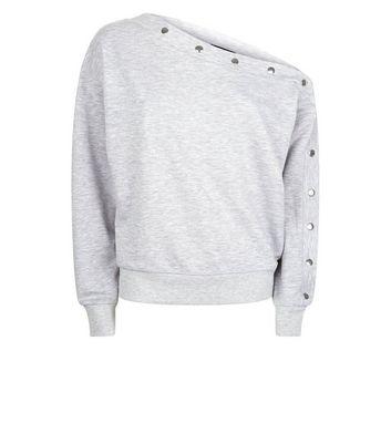 Grey Popper Sleeve Off the Shoulder Sweatshirt New Look
