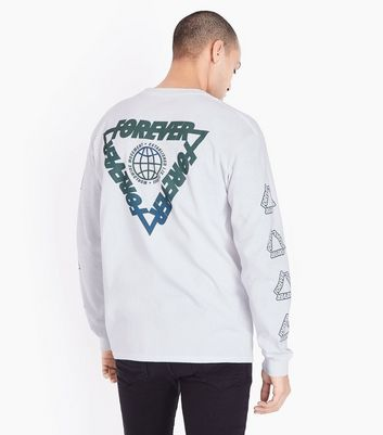 White Forever Logo Print Long Sleeve Cuff T-Shirt New Look