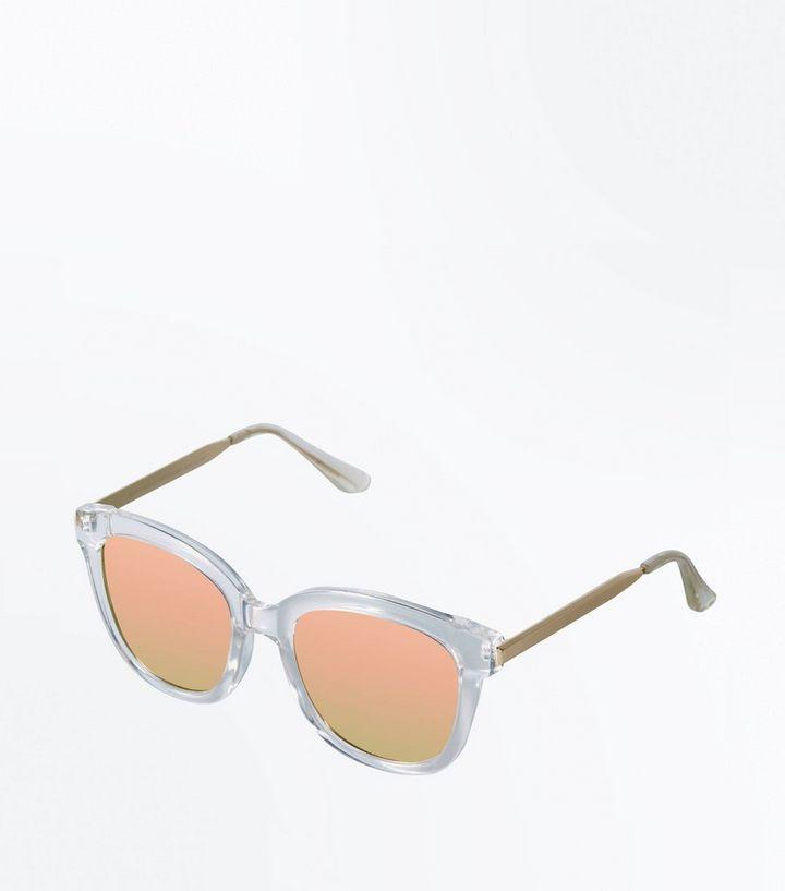 6aae23e787a9 Clear Frame Mirror Lens Sunglasses