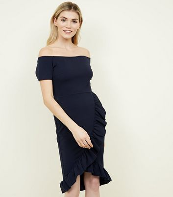 AX Paris Navy Frill Trim Bardot Neck Dress