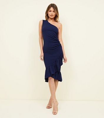 AX Paris Navy One Shoulder Ruffle Hem Dress