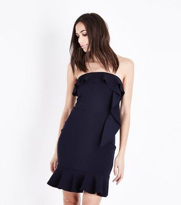 AX Paris Navy Frill Trim Mini Dress