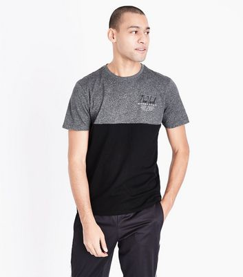 Grey Marl Colour Block T-Shirt New Look