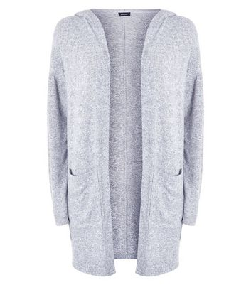 Pale Grey Brushed Fine Knit Hooded Cardigan New Look